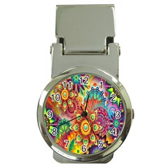 Colorful Abstract Flower Floral Sunflower Rose Star Rainbow Money Clip Watches