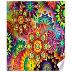 Colorful Abstract Flower Floral Sunflower Rose Star Rainbow Canvas 8  X 10