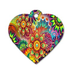 Colorful Abstract Flower Floral Sunflower Rose Star Rainbow Dog Tag Heart (two Sides)