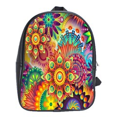 Colorful Abstract Flower Floral Sunflower Rose Star Rainbow School Bags(large)