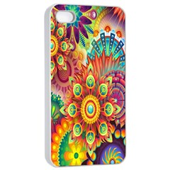 Colorful Abstract Flower Floral Sunflower Rose Star Rainbow Apple Iphone 4/4s Seamless Case (white)