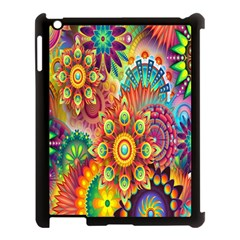 Colorful Abstract Flower Floral Sunflower Rose Star Rainbow Apple Ipad 3/4 Case (black)