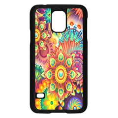 Colorful Abstract Flower Floral Sunflower Rose Star Rainbow Samsung Galaxy S5 Case (black)