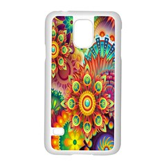 Colorful Abstract Flower Floral Sunflower Rose Star Rainbow Samsung Galaxy S5 Case (white)