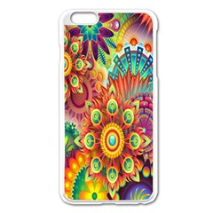 Colorful Abstract Flower Floral Sunflower Rose Star Rainbow Apple Iphone 6 Plus/6s Plus Enamel White Case
