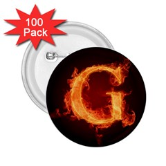 Fire Letterz G 2 25  Buttons (100 Pack)