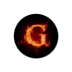 Fire Letterz G Rubber Round Coaster (4 Pack)
