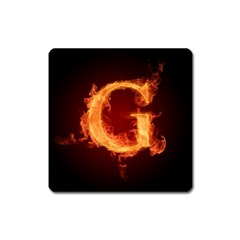 Fire Letterz G Square Magnet