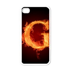 Fire Letterz G Apple iPhone 4 Case (White)
