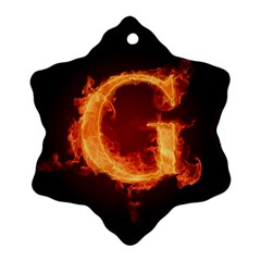 Fire Letterz G Snowflake Ornament (two Sides)