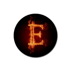 Fire Letterz E Rubber Round Coaster (4 Pack)