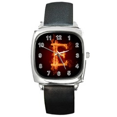Fire Letterz E Square Metal Watch