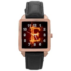 Fire Letterz E Rose Gold Leather Watch