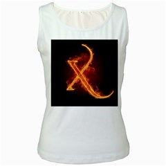 Fire Letterz X Women s White Tank Top