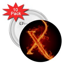 Fire Letterz X 2 25  Buttons (10 Pack)
