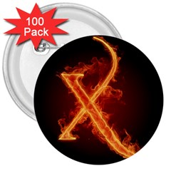 Fire Letterz X 3  Buttons (100 Pack)