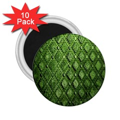 Circle Square Green Stone 2 25  Magnets (10 Pack)