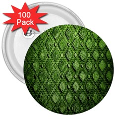 Circle Square Green Stone 3  Buttons (100 Pack)