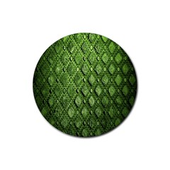 Circle Square Green Stone Rubber Coaster (round)