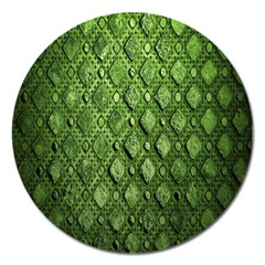 Circle Square Green Stone Magnet 5  (round)