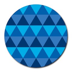 Geometric Chevron Blue Triangle Round Mousepads