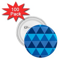 Geometric Chevron Blue Triangle 1 75  Buttons (100 Pack)