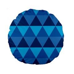 Geometric Chevron Blue Triangle Standard 15  Premium Round Cushions