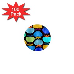 Fruit Apples Color Rainbow Green Blue Yellow Orange 1  Mini Magnets (100 Pack)