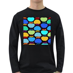 Fruit Apples Color Rainbow Green Blue Yellow Orange Long Sleeve Dark T Shirts