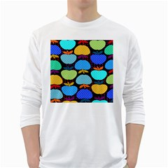 Fruit Apples Color Rainbow Green Blue Yellow Orange White Long Sleeve T Shirts