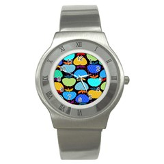 Fruit Apples Color Rainbow Green Blue Yellow Orange Stainless Steel Watch