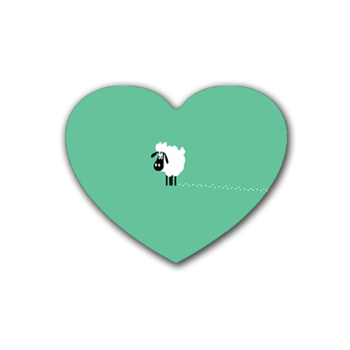 Goat Sheep Green White Animals Rubber Coaster (Heart)