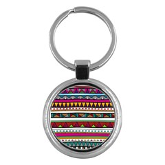 Woven Fabric Triangle Color Rainbow Chevron Wave Jpeg Key Chains (round)