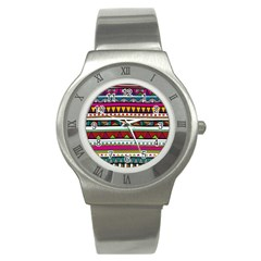 Woven Fabric Triangle Color Rainbow Chevron Wave Jpeg Stainless Steel Watch