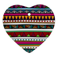 Woven Fabric Triangle Color Rainbow Chevron Wave Jpeg Heart Ornament (two Sides)