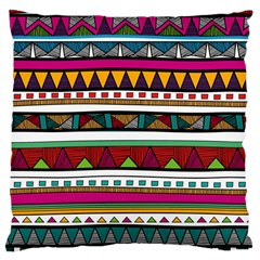 Woven Fabric Triangle Color Rainbow Chevron Wave Jpeg Large Cushion Case (two Sides)