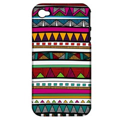 Woven Fabric Triangle Color Rainbow Chevron Wave Jpeg Apple Iphone 4/4s Hardshell Case (pc+silicone)