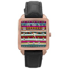 Woven Fabric Triangle Color Rainbow Chevron Wave Jpeg Rose Gold Leather Watch