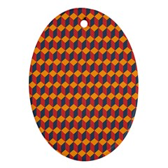 Geometric Plaid Red Orange Ornament (oval)
