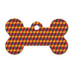 Geometric Plaid Red Orange Dog Tag Bone (two Sides)
