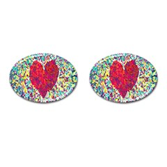 Geometric Heart Diamonds Love Valentine Triangle Color Cufflinks (oval)