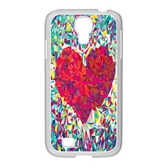 Geometric Heart Diamonds Love Valentine Triangle Color Samsung Galaxy S4 I9500/ I9505 Case (white)