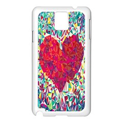 Geometric Heart Diamonds Love Valentine Triangle Color Samsung Galaxy Note 3 N9005 Case (white)