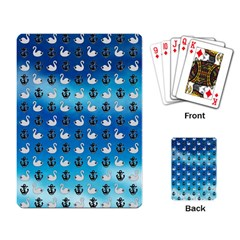 Goose Swan Anchor Blue Playing Card