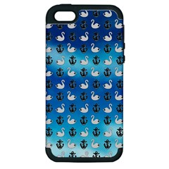 Goose Swan Anchor Blue Apple Iphone 5 Hardshell Case (pc+silicone)