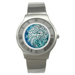 Glass Mosaics Blue Green Stainless Steel Watch