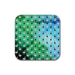 Goose Swan Hook Blue Green Rubber Coaster (square)