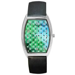 Goose Swan Hook Blue Green Barrel Style Metal Watch