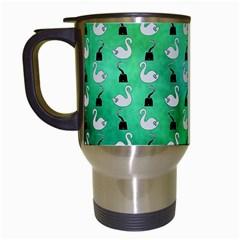 Goose Swan Hook Blue Green Travel Mugs (white)