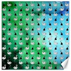 Goose Swan Hook Blue Green Canvas 16  x 16